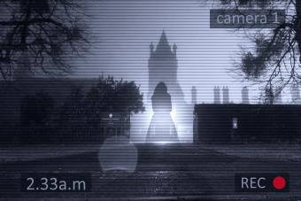 Floating ghostly woman with a CCTV surveillance