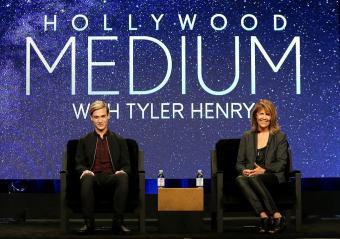 Tyler Henry and Stephanie Drachkovitch speak onstage at the 'Hollywood Medium'