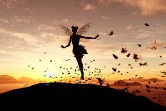 Fairy on the sky of a sunset