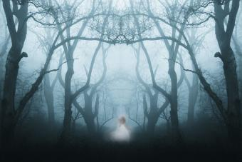 Forest with a ghostly woman in white