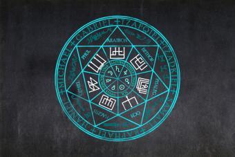 Sigil of the Seven archangels drawn on a blackboard