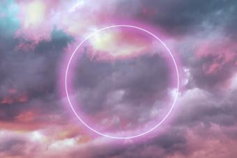 neon circle in sky