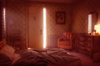 Light coming through open door of motel room