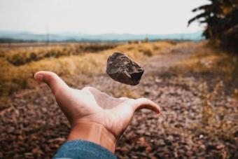 Man Tossing Stone On Field