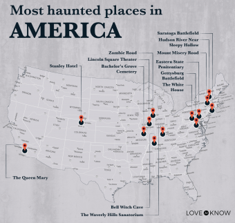 Map of Most Haunted Places in America