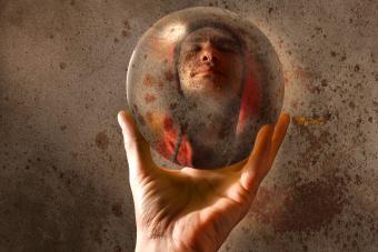 Man's face inside an orb
