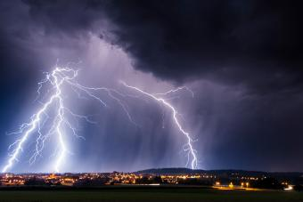 Thunder at night under a city