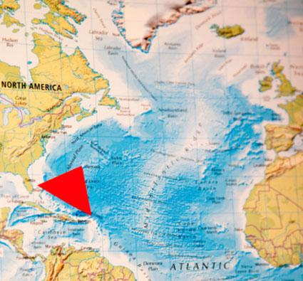 Map of the Bermuda Triangle.