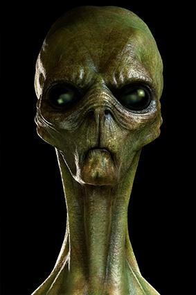 Artistic rendering of green alien creature's head