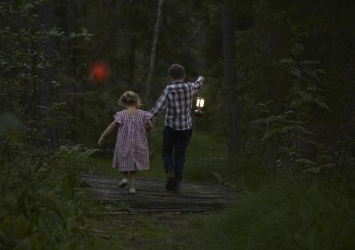 Kids entering forest with red orb
