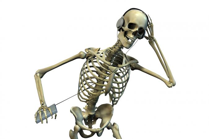 Skeleton Listening to Music