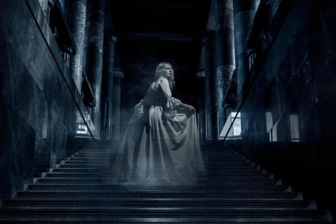 Ghost girl on stairs