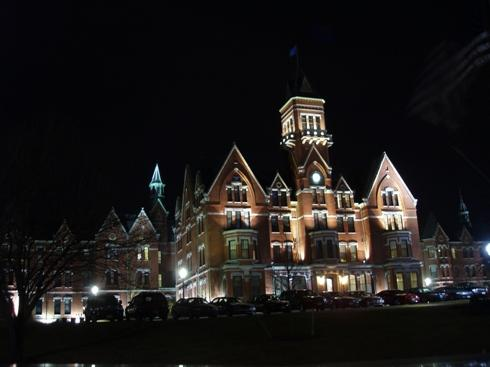 Danvers State Hospital at night