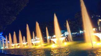 Illuminated Fountains At Kings Island