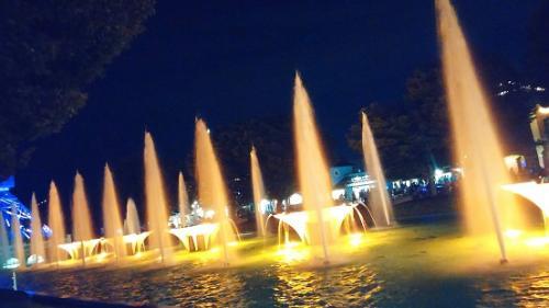 Illuminated Fountains At Kings Island