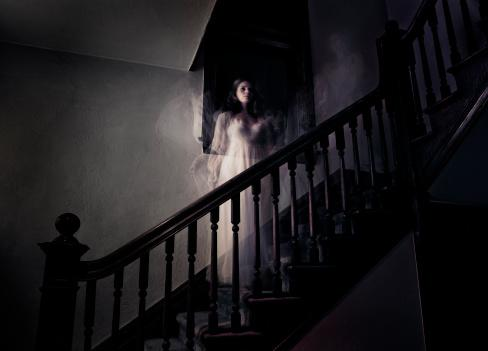 ghost woman on stairs