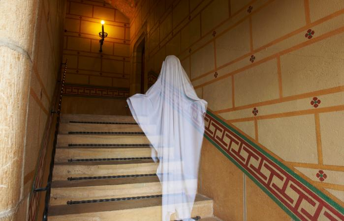 ghost floating on stairs