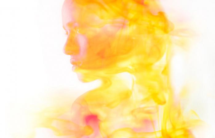 Woman with different aura colors