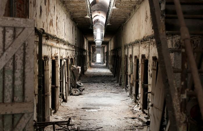 Abandoned corridor of a old prison