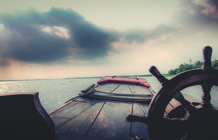 Boat Against Cloudy Sky