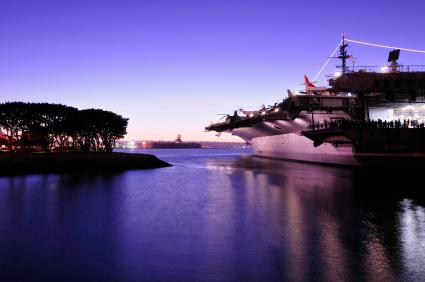The USS Midway at Dusk in San Diego,CA.