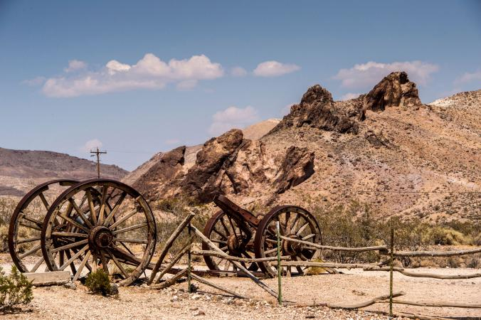 Old carts near ghost town