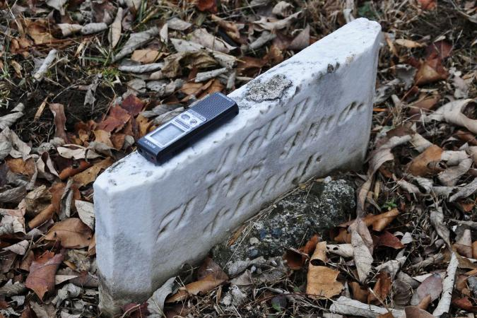 Headstone with EVP recorder