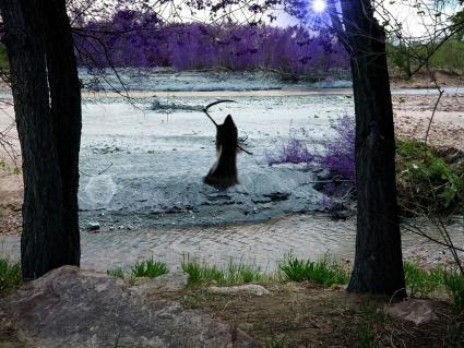 Grim Reaper on river bank