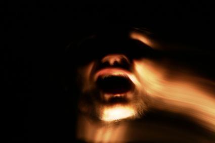 Spooky face in dark