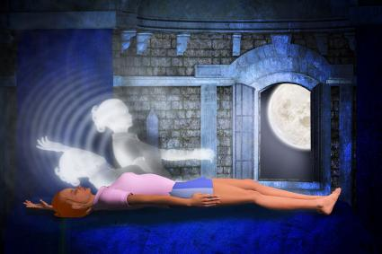 Woman having a lucid dream