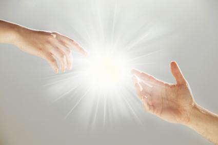 Reaching hands with spiritual connection
