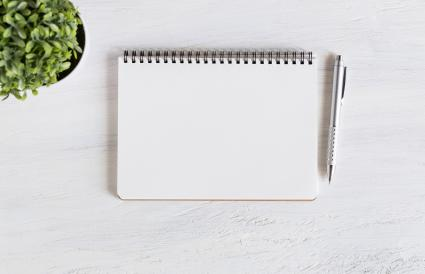 Diary With Pen By Plant On Wooden Table