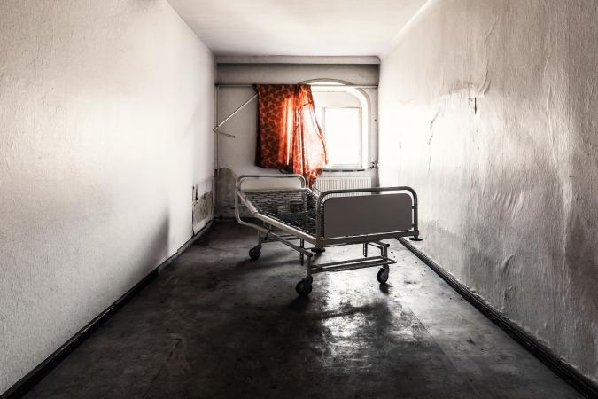 Creepy abandoned hospital corridor