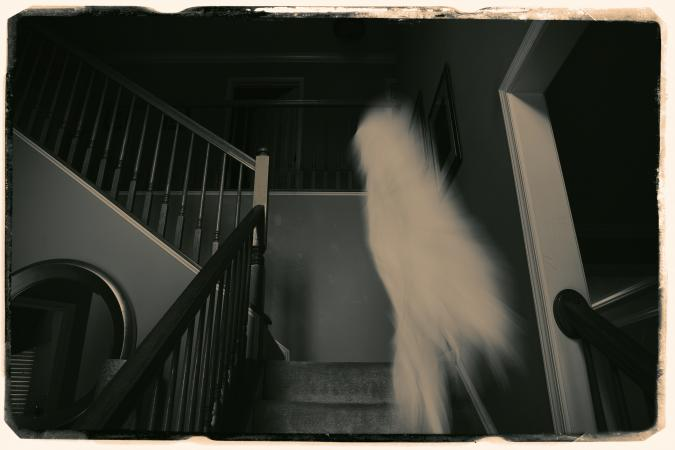Photo of ghostly image on the stairs