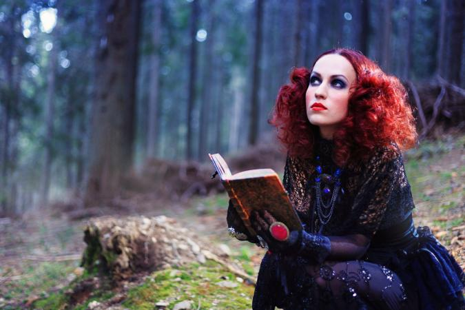 woman reading a spooky story