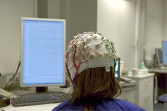 woman participating in a brain study