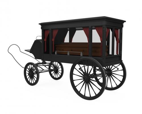 Horse-drawn old-fashioned hearse
