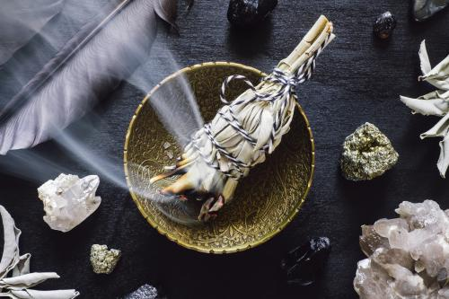 cleansing crystals with white sage