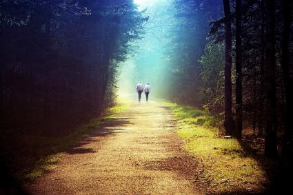 Couple walking hand in hand along a path bathed in sunlight
