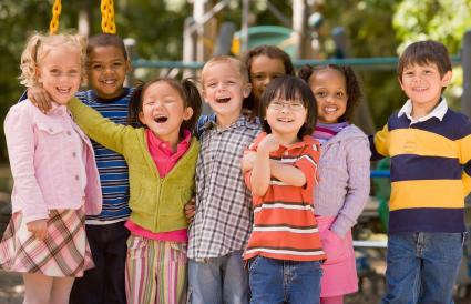 Multi-ethnic children at playground