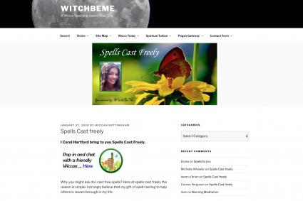 Screenshot of witchbeme website