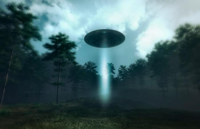 UFO landing in the forest meadow