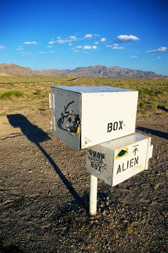 Mailbox for aliens in desert