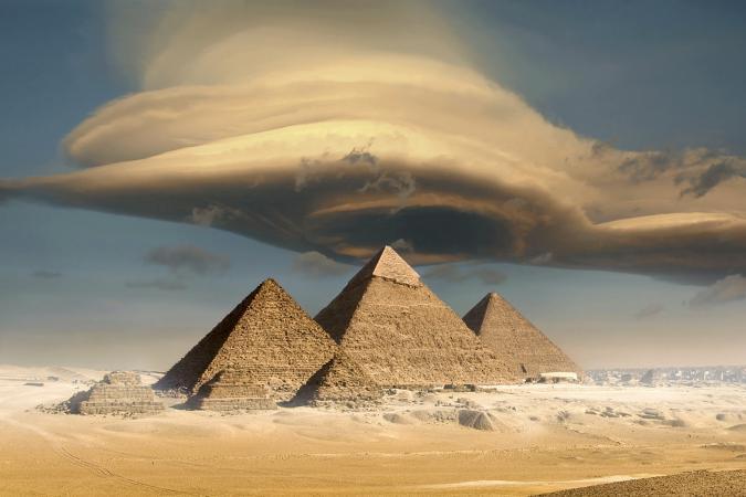 dramatic cloud above pyramids, Giza, Egypt