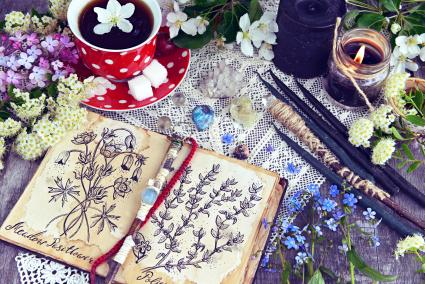 Witch book with magic and healing herbs