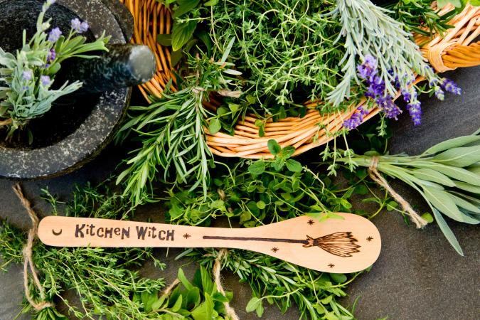 Kitchen Witch - wooden spoon, with fresh herbs and basket