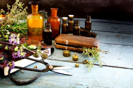 Preparing natural medicine, healing herbs and equipment