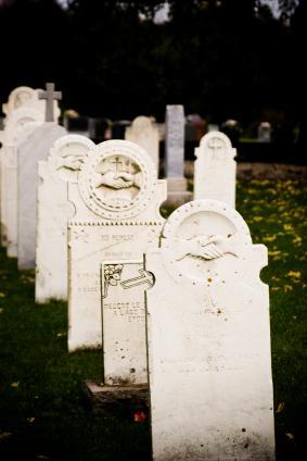 Old cemetery tombstones.
