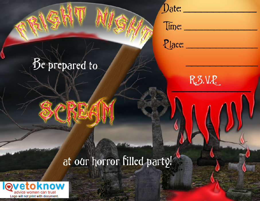 graphic relating to Free Halloween Invites Printable called Printable Halloween Social gathering Invites LoveToKnow