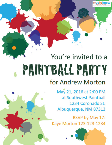 image about Free Printable Fall Party Invitations referred to as Free of charge Printable Paintball Occasion Invites LoveToKnow